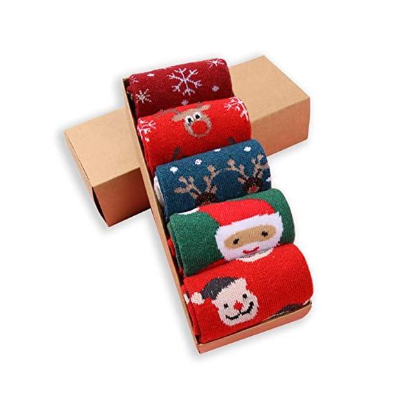 LIKERAINY Ragazze Donna Calzini Lana di Natale Caldo Inverno Confortevole Babbo Natale e Alce 5 Paia 1 spesavip