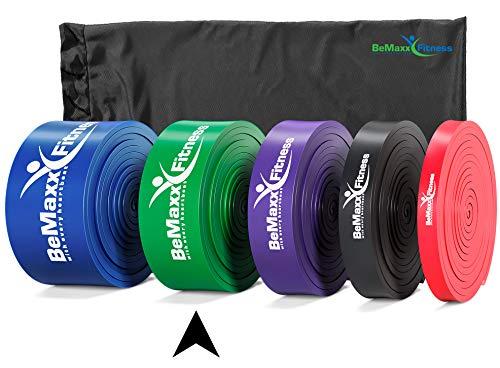 BeMaxx Fitnessbänder Pull Up Resistance Band Fitnessband Fitness + Trainingsguide – Das Klimmzug Widerstandsband – Klimmzughilfe Klimmzugband/Widerstandsbänder / Loop Bands Stretching Bänder
