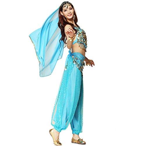 �r Damen von Best Dance, bestehend aus Oberteil mit Perlen und Glöckchen, Haremshose und einem Hüfttuch. (Jasmin Kostüm)