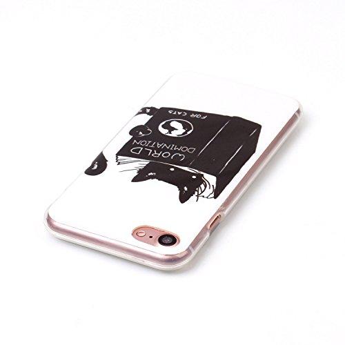Custodia iPhone 7,iPhone 7 Cover,SainCat Custodia in Morbida TPU Protettiva Cover per iPhone 7,Creative Design Transparent Silicone Case Ultra Slim Sottile Morbida Transparent TPU Gel Cover Shock-Abso cat scuro
