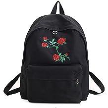 Mochilas Bolsas Escolares, W-top Bolsa de Escuela portatil Chicas mujeres morral de capacidad grande, Patrón rosa Color Negra
