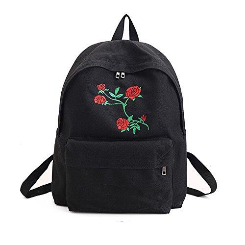 GGG Mochilas Escolares-Nuevo flamenco / Rose de la manera embrochó el bolso de escuela grande del recorrido de la capacidad del morral color Rosa Negra