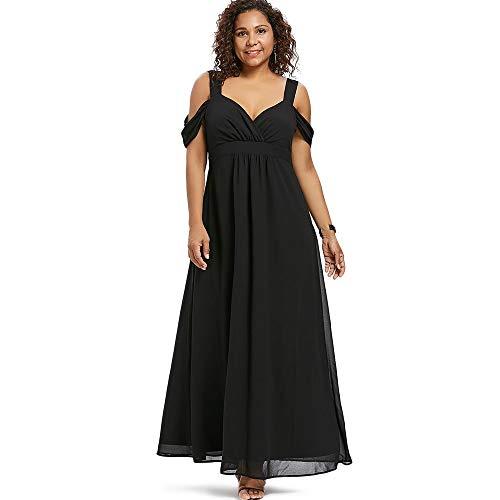 Damenrock Schatz-Ausschnitt Plus Size Empire-Taille Damen Maxikleid Geeignet für alle Gelegenheiten (Color : Schwarz, Size : L)