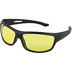 Discount4product Night driving Goggles with Yellow lens and Black Frame with a free pouch