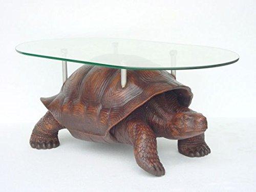 Walt-Deko Tortue avec Plateau de Table en Verre lebensgroß 58 cm pour l'extérieur en Fibre de Verre Haute qualité Plastique (GFK)