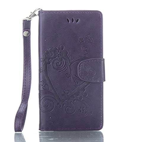 Sony Xperia X Case Leather, Ecoway Love embossed pattern PU Leather Stand Function Protective Cases Covers with Card Slot Holder Wallet Book Design Detachable Hand Strap for Sony Xperia X - purple