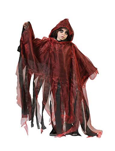 Kostüm Ghoul Ghost - Halloweenia - Jungen Kinder Kostüm, Gespenster Cape Geist Ghoul Ghost perfekt für Halloween Karneval und Fasching, 110-140, Rot