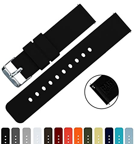 BARTON Silicone Quick Release- Choose Colour & Width (16mm, 18mm, 20mm, 22mm) - Black 18mm Watch Band