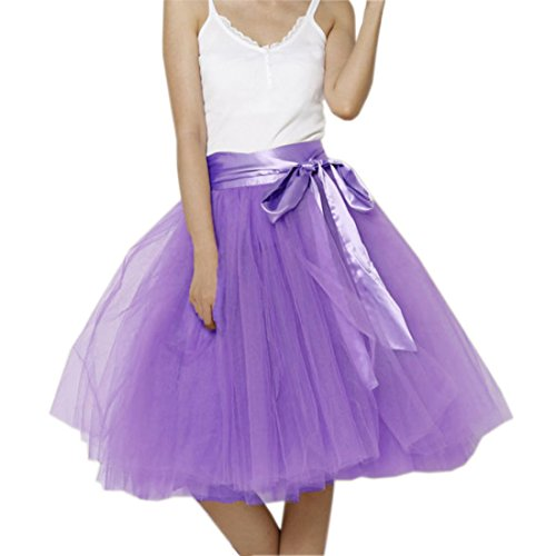 Honeystore Damen's Rock Tutu Polyester Damenrock Tütü Cosplay Kurz Tanzkleid Party Minirock Pettiskirt Tüllrock Unterrock Sommer Falten Rock 2XL Violett (Barbie Kostüm Selbstgemacht)