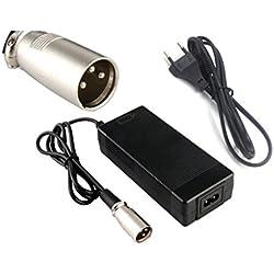 Chargeur de batterie 36V 2A Sortie 42V 2A Chargeur Entrée 100-240 VAC Lithium Li-ion Chargeur Li-poly pour 10Series 36V Vélo électrique (Connecteur XLRM)