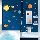 Sonnensystem Wandaufkleber für Kinderzimmer Sterne Weltraum Himmel Wandtattoos Planeten Erde Sonne Saturn Mars Poster Wandbild
