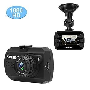 Blusmart Caméra de, Dash Cam Caméscope Enregistreurs DVR Vidéo de Voiture avec 120° HD 1080P, Accéléromètre Capteur-G Vision Nocturne 4xZoom, Micro SD 16Go incluse