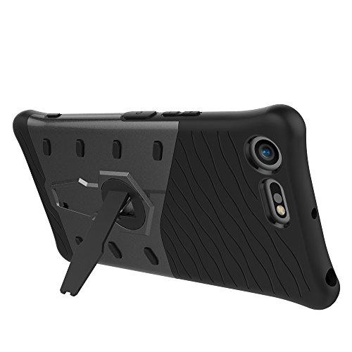 Dual Layer PC + Soft TPU Armor Defender Case Heavy Duty Vollschutz 360 ° Drehbarer Stand Shockproof (Stoßdämpfung) Cover für Sony Xperia XZ Premium ( Color : Black ) Black