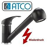 ATCO® Niederdruck Einhandmischer Armatur Spüle Granit schwarz Spültisch Küchenarmatur EHM Brause