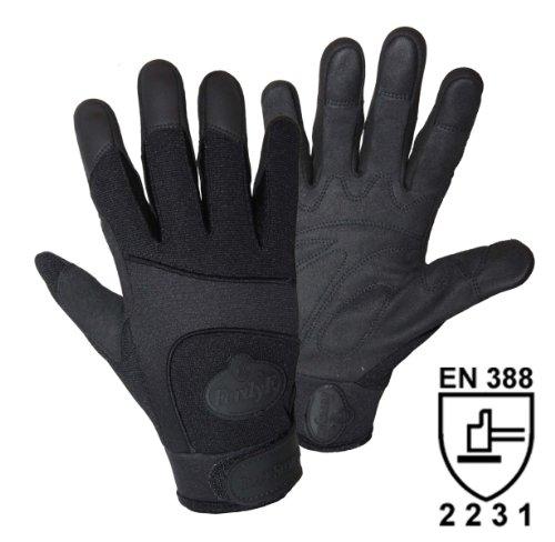 FerdyF. Black Security Mechanics-Handschuhe mit Spandex Rücken, 1 Paar, Gr. S (7), schwarz
