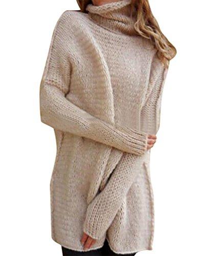 38b9f27e4e86 YOUJIA Damen Lässige Rollkragen Strickpullover Pullover Kleid Strickkleid  Mit Daumenloch (Rosa Weiß, L)
