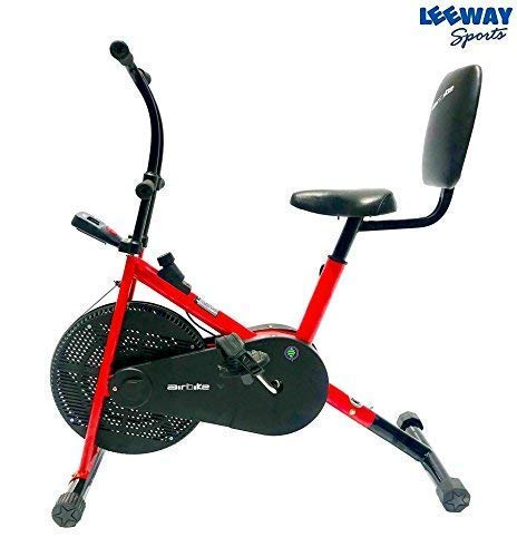 Leeway Air Bike with Back Support | Deluxe Design Lifeline for Cardio Fitness Work Out | RED
