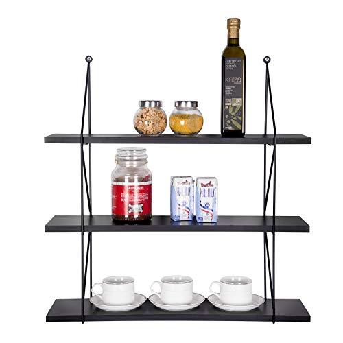 Woltu rg9343sz mensole da muro scaffale da cucina a 3 ripiani libreria portaoggetti supporto in mdf