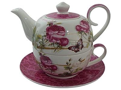 Tea for one set de 4 pièces: rose et blanc diamant-théière avec couvercle-tasse