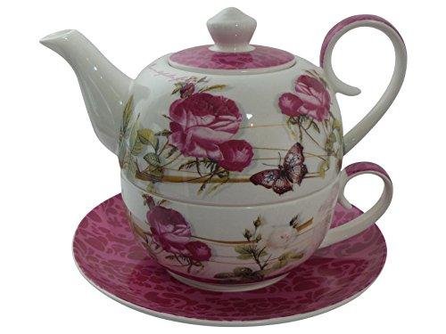 Jameson & Tailor Tea for one edles hochwertiges Diamant-Porzellan Rosen u. Schmetterlinges Dekor Set bestehend aus Teekanne Tasse und Untertasse
