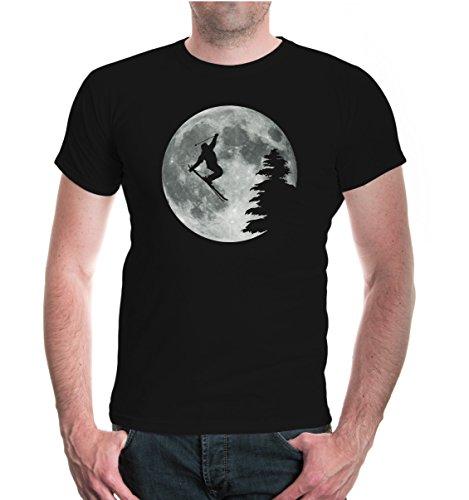 T-Shirt Moon-Jump-Skiing-M-Black-z-Direct