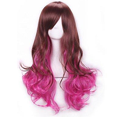OOFAY JF-braun rosarot langen lockigen Haar Perücken Perücken Perücken Lolita Regenbogen synthetische Perücken perruque femme anime ombre Cosplay , jet (Perücke Langen Erwachsene Lockigen Für Regenbogen)