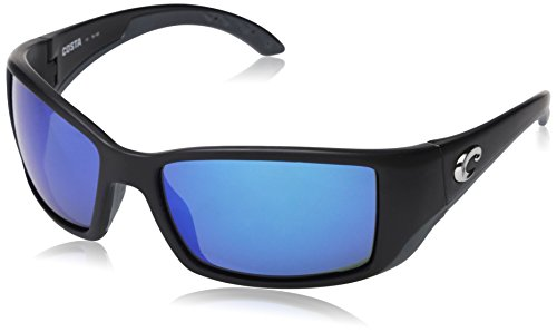 Costa Del Mar Sunglasses BLACKFIN Matte Black Polarized Blue Mirror 580 Glass