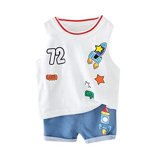 Knowin-baby body Schuhe Kleinkind Baby Kinder Jungen Cartoon Rocket Weste Tops Short Casual Outfits Set Ärmelloses Kinder-Tanktop mit Digitaldruck und zweiteiligen Shorts von Rocket