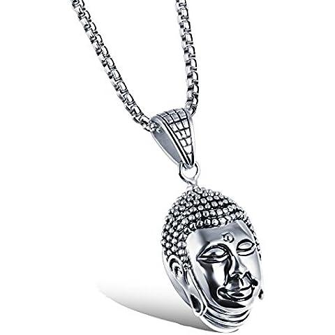 [] M.JVisun Jewelry-Ciondolo da uomo a forma di testa di Buddha, 2 colori, in acciaio INOX, con catenina a lunghezza 54,86 (21,6 cm - Diamond Cut Argento Collana Figaro