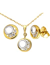 Citerna - EP1027YW - Collar de mujer de oro bicolor (9k) con 9 circonitas, 46 cm