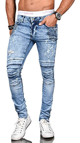 Golden Brands Selection Stylische Herren Röhrenjeans Skinny Fit Jeans Hose Biker Washed Stretch [B527 - W33 L32]