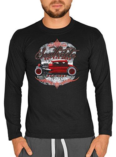 American-Style Langarm-Shirt Herren Longsleeve lässiger US-Car Aufdruck: Southside Hot Rod Shop est. 1967 Schwarz