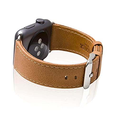 Apple Watch Band, SVAEX 42 mm Genuine Leather Strap Wrist Band Replacement with Metal Buckle - Retro - Light Brown