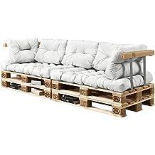 [en.casa] Palettenkissen - 7-teilig - Sitzpolster + Rückenkissen [weiß] Paletten-Sofa In/Outdoor