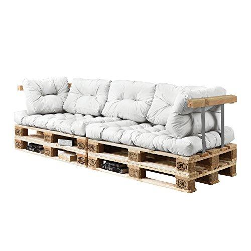 [en.casa] Palettensofa - 3-Sitzer mit Kissen - (weiß) komplettes Set inkl. Arm- und Rückenlehne