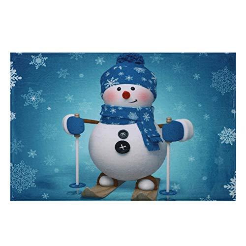 Weihnachtsdekoration Schneemann Teppich Weihnachten Ornament Weichkorallen Fleece Cartoon Fußmatte Weihnachten Festival Bodenmatte Rutschfeste Bad Teppich für Wohnzimmer Schlafzimmer Flur Küche