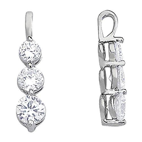 Tre Stone 1 ct. diamanti ciondolo viaggio senza 14K catena d'oro