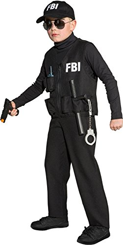 Kinder Kostüm Weste FBI zum Polizist Karneval Fasching Gr.116-128 (Fbi Agent Kostüm Für Kinder)