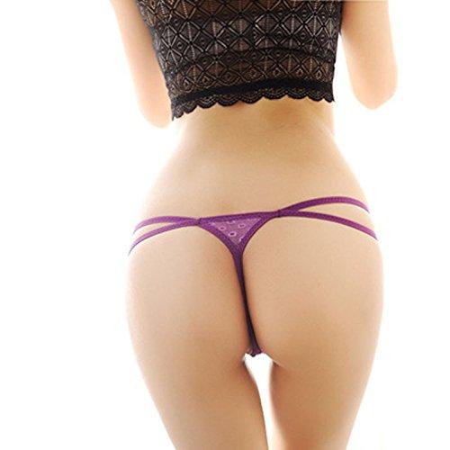Culater® Femmes Lingerie G-String Ouvrir Dentelle Fichier Pendentif de Perles Sexy Thong pourpre