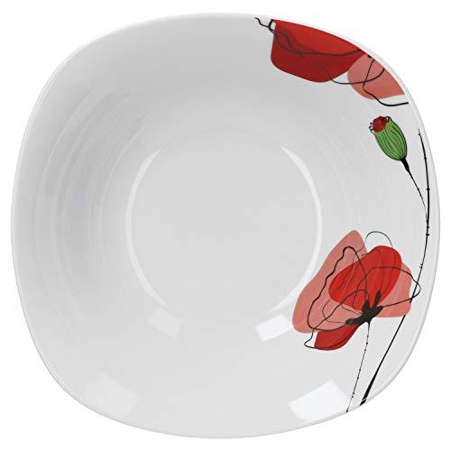 Van Well Servierschale Monika 1.25L | quadratische Buffet-Schale | XL-Servierteller für Salat & Dessert | Abstraktes Porzellan-Geschirr | Gastro