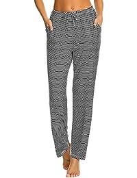94a604f0cbbbe0 MAXMODA Pyjamahose Damen Lang Lässige Schlafhose Mode Streifen Freizeithose