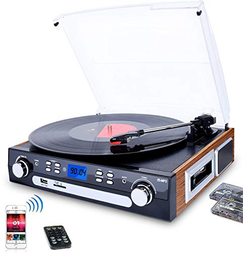 eler Schallplattenspieler mit Stereo Lautsprechern ,Stützen Bluetooth | Kassette | AM / FM Radio | Vinyl to MP3 USB-Codierung | 33/45/78 U/min | Aux in ()