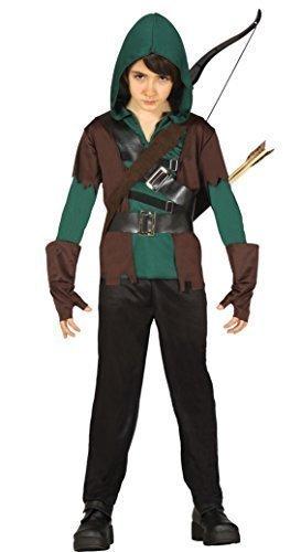 Jungen 4 Stück Grün Mittelalterlich Bogenschütze Robin Hood Halloween Kostüm Kleid Outfit 5-12 jahre - Grün, 5-6 (Mittelalterliche Boys Kostüme Herr)