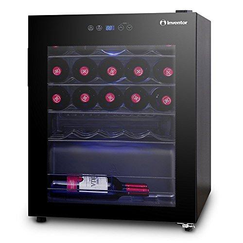 Inventor Vino Cave à Vin Réfrigérée 66L (peut contenir jusqu'à 24 bouteilles de vin de taille standard), Porte Vitrée, Éclairage Intérieur LED Bleu