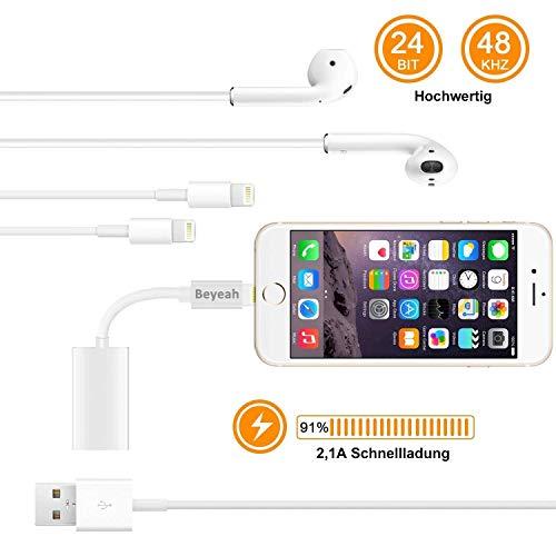 2 in 1 Lightning AUX Adapter iphone Adapter Splitte Kopfhörer Jack Adapter für iPhone Xs /Xs Max / iPhone XR /iPhone X / iPhone 8/8 Plus / iPhone 7/7 Plus. Kompatibel mit iOS 11/12 Oberhalb - 3
