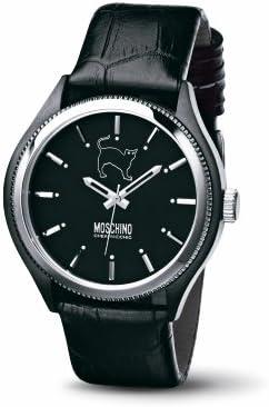 Moschino MW0068 - Reloj de caballero de cuarzo, correa de piel color negro