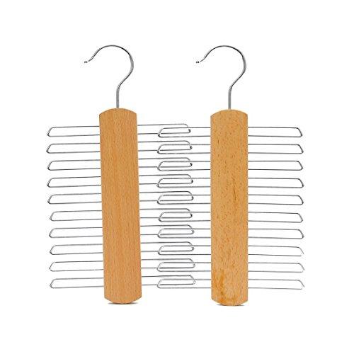 J. S. grucce appendiabiti in legno e autentica paragrafo 20 legami / cinture naturale, faggio, ganci multifunzionali per gli accessori, ci sono posti in cromo (2 unità)