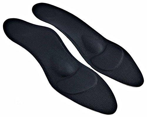 Green-Feet orthopädische Damen Komfort Schuheinlagen schwarz f. High Heel, Pumps u. Absatzschuhe, 1,8mm dünnen Einlegesohlen gegen Senkfuß u. Spreizfuß (40...