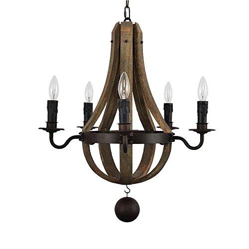 Licht Vintage Rust Eisen Holz Kronleuchter Beleuchtung Große Dia 22