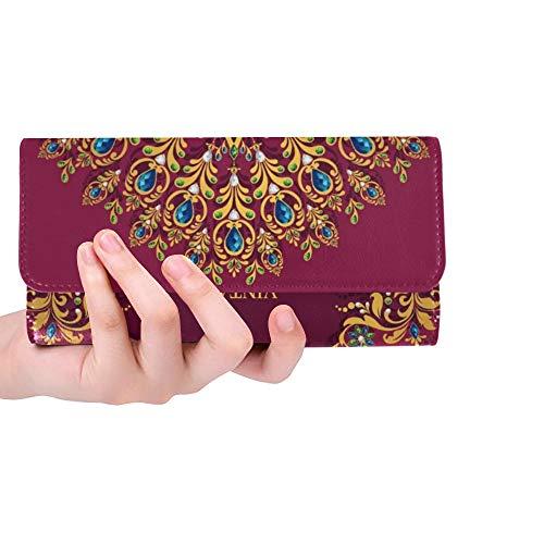 Einzigartige benutzerdefinierte Hochzeitseinladungskarte abstrakte Islam Frauen Trifold Wallet Lange Geldbörse Kreditkarteninhaber Fall Handtasche